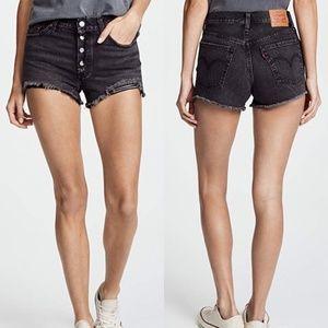 Levi's 501 Black Distressed High Rise Denim Shorts